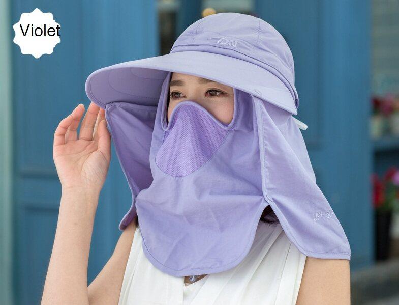 Peach Shop หมวกกันแดด360องศา ป้องกันความร้อน กันรังสียูวี มีผ้าปิดหน้าถอดแยกชิ้นได้ พับเก็บได้ ปีกกว้างกันแดด Dx3.