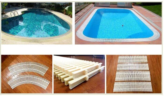 Swimming Pool Overflow Spa Grating แกรงพลาสติกสำเร็จรูป ABS ขนาด 298x1000 mm. (สีขาวครีม) จำนวน 10 เมตร