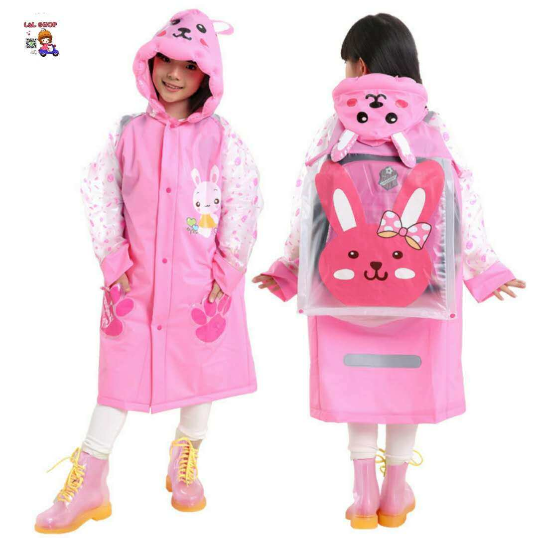 L&L SHOP เสื้อกันฝน เสื้อกันฝนเด็ก เสื้อกันฝนเด็กสัตว์สไตล์ Rainwear พร้อมกระเป๋าหนังสือ เป่าลม