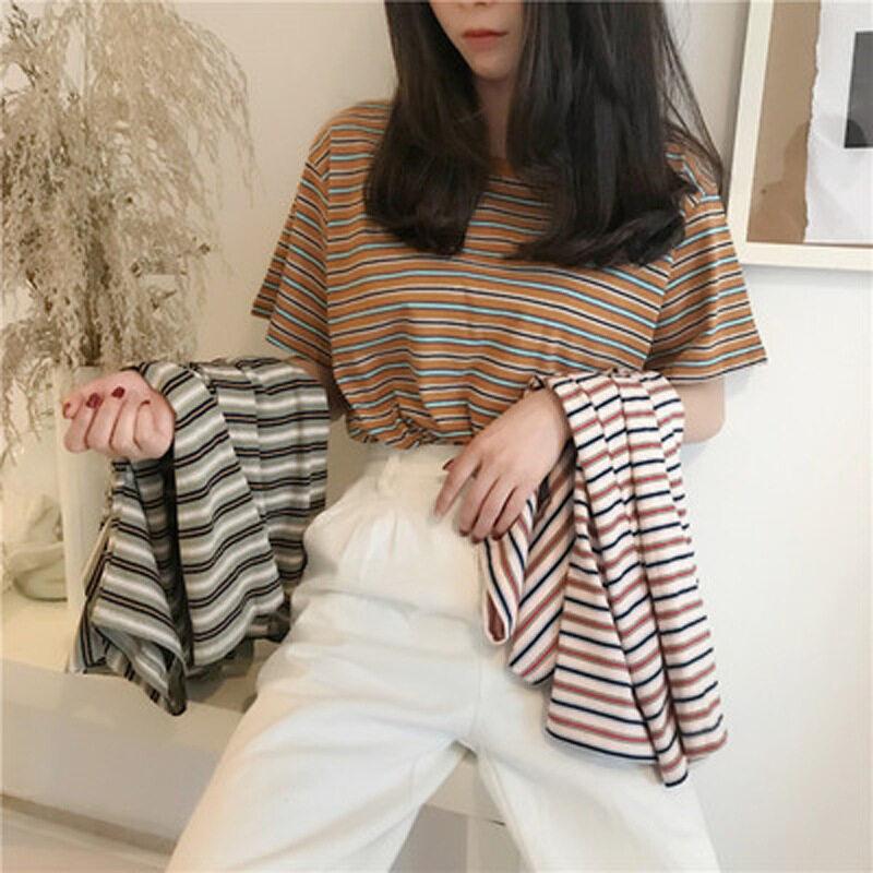 Lh.sunday เสื้อยืดลายทางมาใหม่ สไตล์วินเทจ ผ้านิ่มใส่สบายโทนสีสุภาพ มีมา3สีจุกๆกันไปเลย.