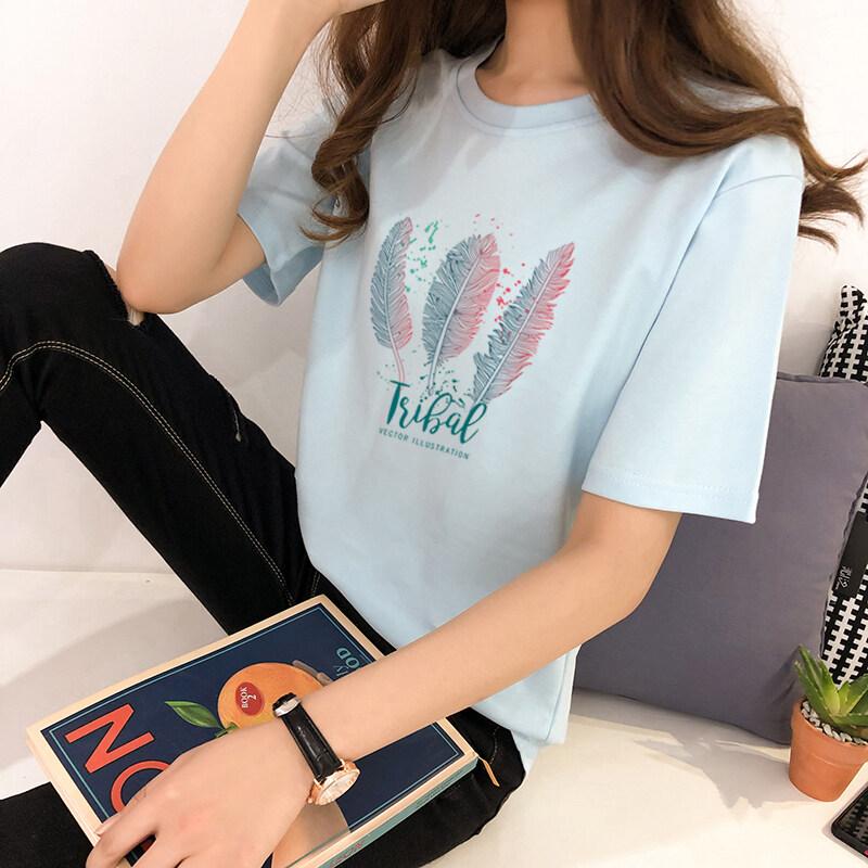 TZY SHOP เสื้อยืดแขนสั้นผู้หญิง หลากสีสันสีสวยสด ผ้าฝ้ายนุ่มใส่สบายไม่ร้อน ใส่แล้วดูผอมมาใหม่ปี 2020 สไตล์เกาหลี