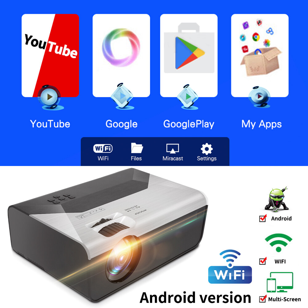 ?พร้อมส่ง?ใหม่ Android WiFi บลูทู ธ โปรเจคเตอร์ HD โปรเจ็กเตอร์ HD 720P โฮมเธียเตอร์แบบพกพาลำโพงในตัว wifi โทรศัพท์มือถือไร้สายหน้าจอเดียวกันกับระบบ Android
