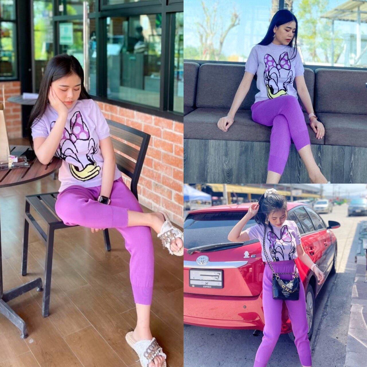 ชุดเซ็ทเสื้อแขนสั้น+กางเกงขายาวน่ารักๆ ตัวเสื้อทอลายการ์ตูน เป็นสีพาสเทลหวานๆ.