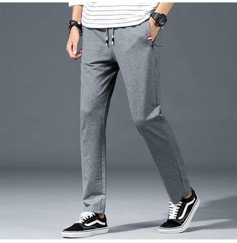 【m-6xl】กางเกงลำลองผู้ชายกางเกงกีฬาผ้าฝ้ายกางเกงทรงตรงสีทึบแฟชั่นเรียบง่ายทรงหลวมไซส์ใหญ่.