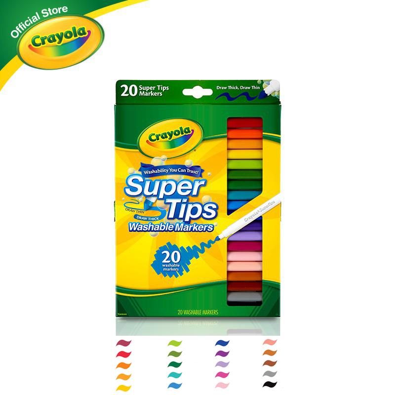 [ขายดีอันดับ1] Crayola Supertips เครโยล่า สีเมจิกล้างออกได้ ซุปเปอร์ทิปส์ 20 สี สำหรับเด็ก อายุ 3 ปี ขึ้นไป ปากกาสี Super Tips สี.