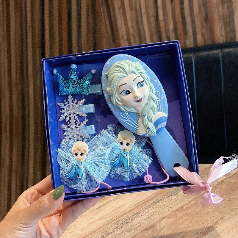 เครื่องประดับผมเด็กชุดเครื่องประดับผม ชุดกล่องของขวัญหวีผม สำหรับเด็กผู้หญิง หวีนวดผมเจ้าหญิงเอลซ่าพร้อมกล่อง ของขวัญวันเกิดสาว