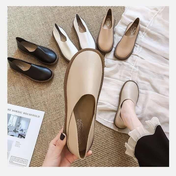 Hm 55 รองเท้าคัชชู มี 4 สี พื้นยางซิลิโคน หนังนิ่ม ใส่สบาย H88.
