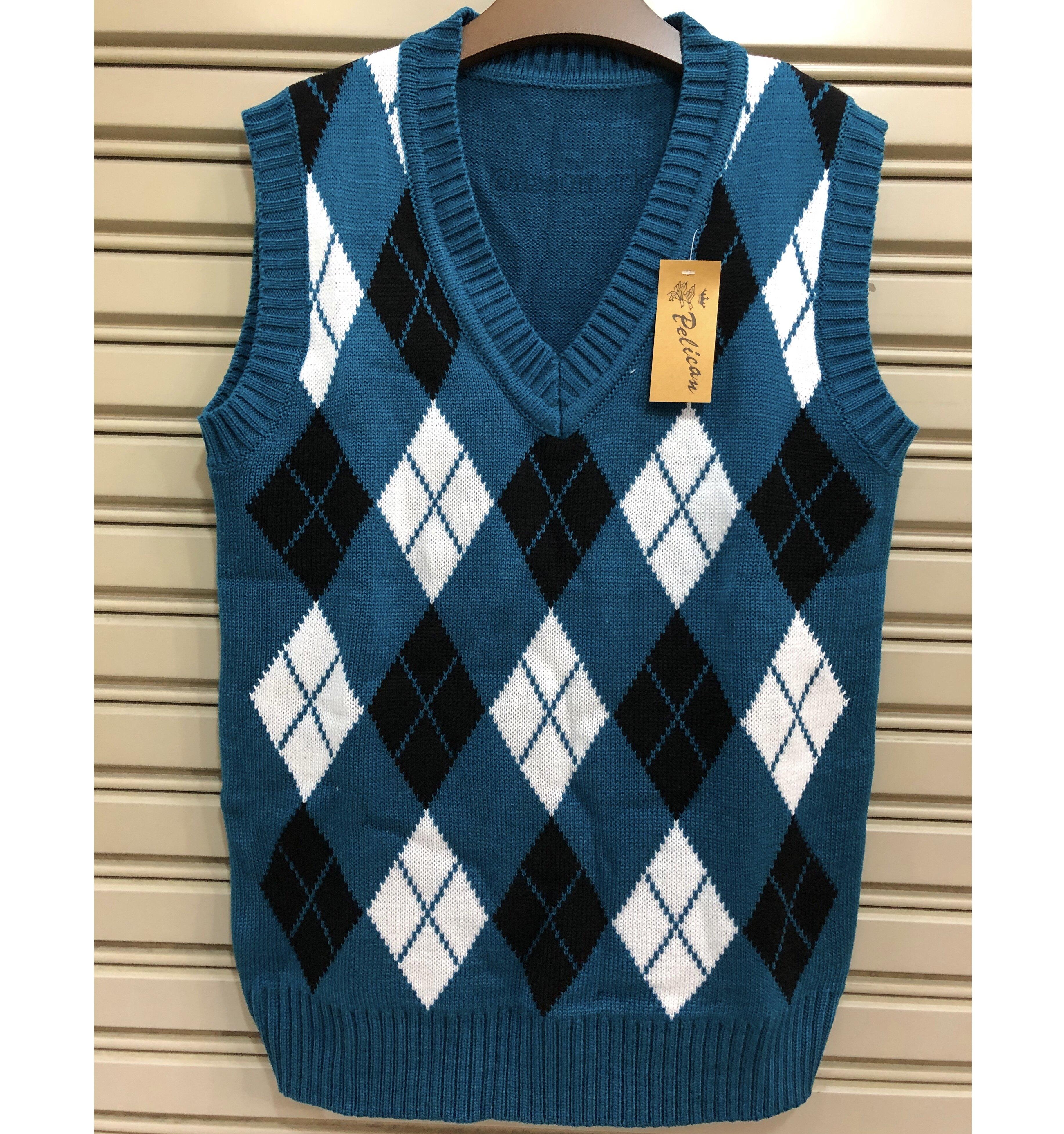 #9104 เสื้อกั๊ก ไหมพรม คอวี ข้าวหลามตัด เสื้อกันหนาว Naao Mark หนาวมาก