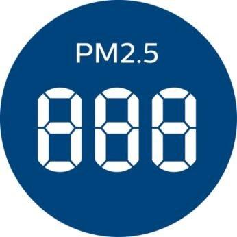 แสดงระดับฝุ่นละอองขนาดเล็ก 2.5 ไมครอน (PM2.5) เป็นตัวเลขแบบเรียลไทม์ และไฟ AQI 4 สี