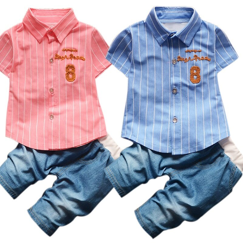 Baby Girl Clothes Suit Stripe Tee Shirts Shorts Pant Newborn Summer Set