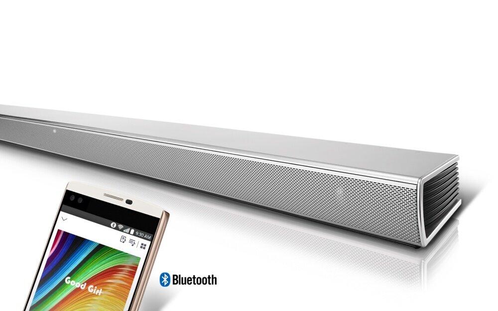 Bluetooth Stand-by : ซาว์ดบาร์ในโหมด Stand By จะเปิดเครื่องและเล่นเพลงทันทีเมื่อมีการเชื่อมต่อผ่านบลูทูธ