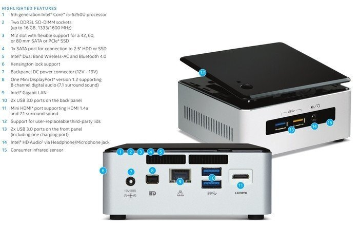 Intel NUC Mini PC 5i5RYH CPU i5-5250U Ram 8GB SSD 120GB