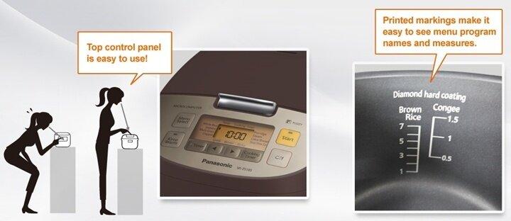 Panasonic หม้อหุงข้าวไมคอม 1.0 L รุ่น SR-ZE105WSN (สีขาว)