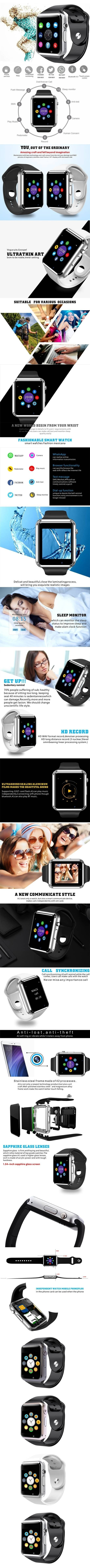 Smart Bluetooth A1 Smart Watch with Sport Pedometer Camera