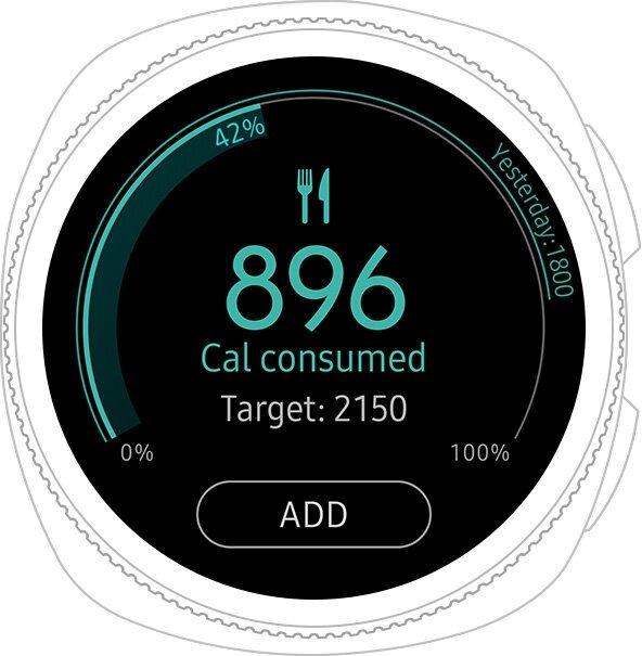 หน้าปัดนาฬิกา Gear Sport แสดงปริมาณแคลอรีที่ได้รับ
