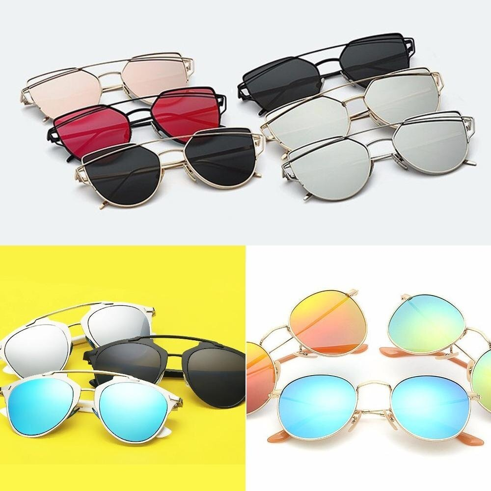 leegoal Fashion Women Sunglasses Sunscreen Anti-UV Color Film Sunglasses , Gold And Pink |