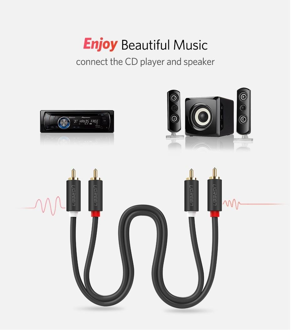 Ugreen 2meter 2rca To 2 Rca Male Audio Cable Gold Plated Dvd Home Theater Wiring Specifications Of For Tv Amplifier Cd Soundbox
