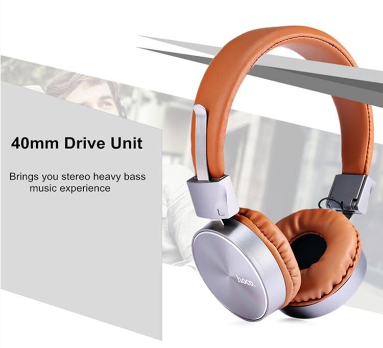 HOCO W2 40mm Drive Unit Universal Foldable Wired Heavy Bass On-ear Handset Headphone with Mic