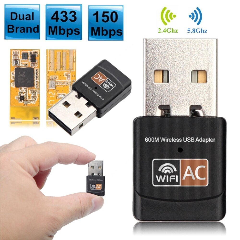 600Mbps Dual Band 2.4G / 5G Hz Wireless Lan USB PC WiFi Adapter 802.11AC | Lazada.co.th